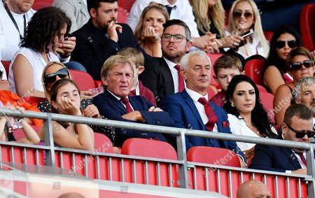Former Liverpool manager Kenny Dalglish (C-L) and former Liverpool striker Ian Rush (C-R) attend the English Premier League soccer match between Liverpool FC and Arsenal FC at Anfield in Liverpool, Britain, 24 August 2019.