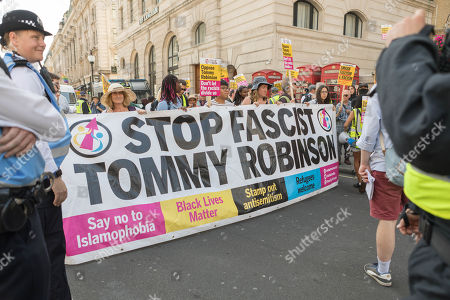 Free Tommy Robinson protest outside the BBC. At the same time a counter demonstration is taking place, organised by Stand Up to Racism and Unite Against Fascism.