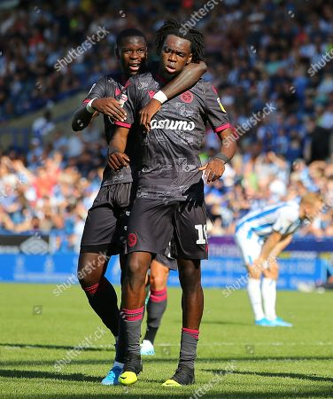 Ovie Ejaria of Reading FC celebrates with his team mates after he scores the opening goal to put Reading 1-0 up