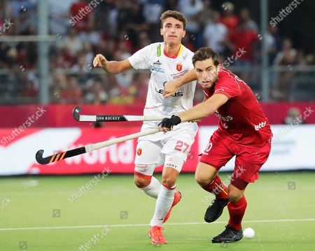 Cedric Charlier (R) of Belgium in action against Marc Bolto (L) of Spain during the EuroHockey 2019 men's final match between Belgium and Spain in Antwerp, Belgium, 24 August 2019.