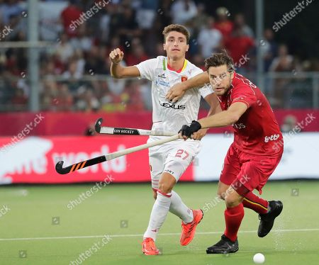 Stock Picture of Cedric Charlier (R) of Belgium in action against Marc Bolto (L) of Spain during the EuroHockey 2019 men's final match between Belgium and Spain in Antwerp, Belgium, 24 August 2019.