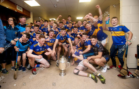 Cork vs Tipperary. Tipperary's Craig Morgan and teammates celebrate after the game in the changing room