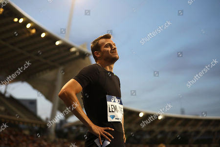 Christophe Lemaitre of France reacts after competing in the men's 200m race at the IAAF Diamond League meeting at the stade Charlety in Paris, France, 24 August 2019.