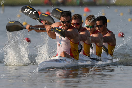 Saul Craviotto, Carlos Arevalo, Marcus Walz and Rodrigo Germade of Spain compete in the semifinal of the men's K4 500m kayak race at ICF Canoe Sprint World Championships in Szeged, Hungary, 24 August 2019.  EPA-EFE/Tamas Kovacs  HUNGARY OUT