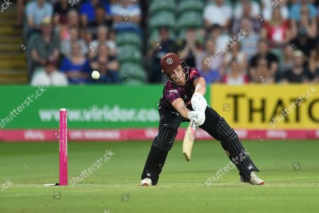 Tom Abell of Somerset plays a shot that sees him caught by Callum Taylor during the Vitality T20 Blast South Group match between Somerset County Cricket Club and Glamorgan County Cricket Club at the Cooper Associates County Ground, Taunton