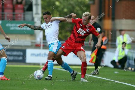 Stock Picture of O's JOsh Wright & Reece Grego-Cox during Leyton Orient vs Crawley Town, Sky Bet EFL League 2 Football at The Breyer Group Stadium on 24th August 2019