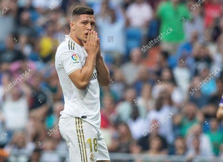 Real Madrid's forward Luka Jovic reacts during the Spanish LaLiga match between Real Madrid and Real Valladolid at Santiago Bernabeu stadium in Madrid, Spain, 24 August 2019.