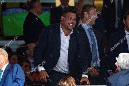 Real Valladolid's President Ronaldo Nazario reacts during the Spanish LaLiga match between Real Madrid and Real Valladolid at Santiago Bernabeu stadium in Madrid, Spain, 24 August 2019.