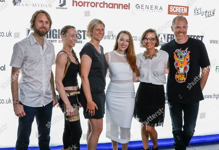 Composer Ben Lovett (also composer of I Trapped the Devil and The Wind), Stunt coordinator Elizabeth Davidovich, DP/ cinematographer Victoria Warren, actress April Billingsley (Resurrection, The Walking Dead), Exec Producer Caroline Dieter and Director Dan Bush (The Signal) attend the screening of The Dark Red at the Frightfest 2019