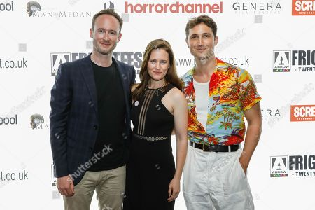 Director Staten Cousins-Roe (Nominated for Screen Genre Rising Star Award) with Katie Brayben and Ben Lloyd-Hughes attend the screening of 'A Serial Killer's Guide to Life'
