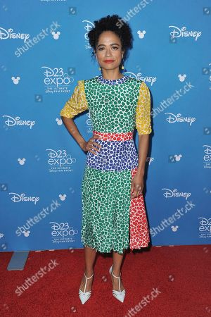 Lauren Ridloff attends the Go Behind the Scenes with the Walt Disney Studios press line at the 2019 D23 Expo, in Anaheim, Calif