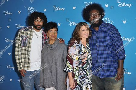 """Daveed Diggs, Phylicia Rashad, Tina Fey, Ahmir Questlove Thompson. Daveed Diggs, from left, Phylicia Rashad, Tina Fey and Ahmir Questlove Thompson attend """"Go Behind the Scenes with the Walt Disney Studios"""" press line at the 2019 D23 Expo, in Anaheim, Calif"""