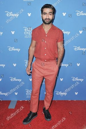 "Kumail Nanjiani attends ""Go Behind the Scenes with the Walt Disney Studios"" press line at the 2019 D23 Expo, in Anaheim, Calif"