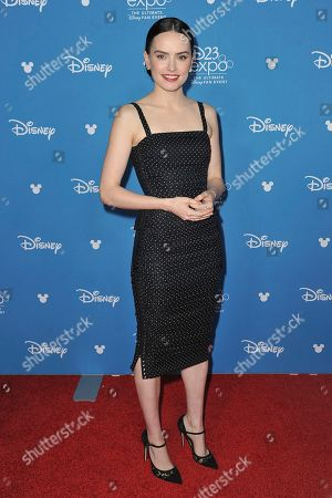 Daisy Ridley attends the Go Behind the Scenes with the Walt Disney Studios press line at the 2019 D23 Expo, in Anaheim, Calif