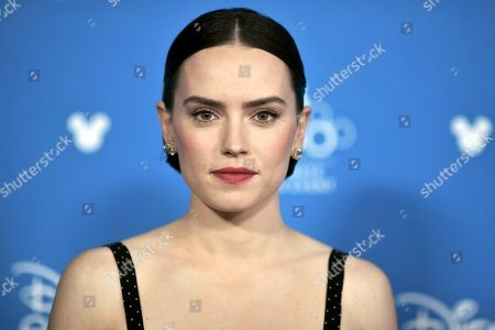 """Stock Image of Daisy Ridley attends the """"Go Behind the Scenes with the Walt Disney Studios,"""" press line at the 2019 D23 Expo, in Anaheim, Calif"""