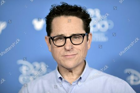 """J.J. Abrams attends the """"Go Behind the Scenes with the Walt Disney Studios,"""" press line at the 2019 D23 Expo, in Anaheim, Calif"""