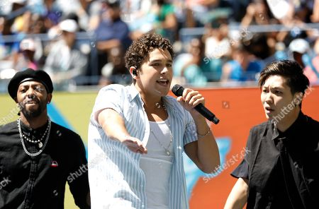 US singer Austin Mahone performs during Arthur Ashe Kid's Day ahead of the 2019 US Open Tennis Championships at the USTA National Tennis Center in Flushing Meadows, in New York, New York, USA, 24 August 2019.