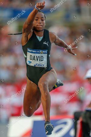 Yanis Esmeralda David, France, Women's Triple Jump, during the Diamond League Meeting at Stade Charlety, Paris