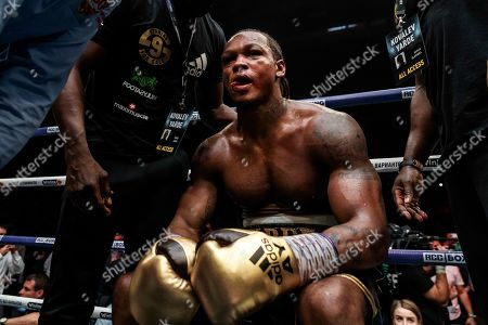 Stock Photo of Boxer Anthony Yarde of Britain reacts after losing his WBO light heavyweight title bout against Sergey Kovalev of Russia in Chelyabinsk, Russia