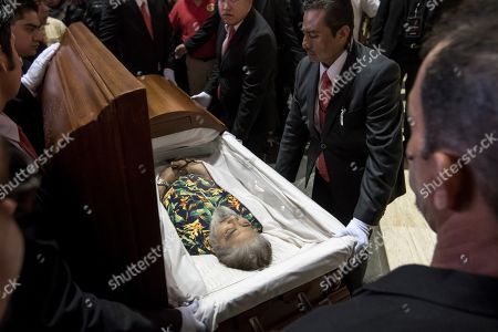 Friends, relatives, and fans give farewell to Celso Pina during his funeral and tribute at the Guadalupe Basilica, in Monterrey, Mexico, 24 August 2019. The Mexican accordionist died on 21 August at age 66. The City Council of Monterrey will raise a statue to the musician and it will place his name on a street.