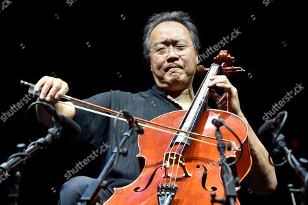 Chinese-American cellist Yo-Yo Ma performs during the last night of the annual Byblos International Festival (BIF), in the ancient city of Byblos (Jbeil), north of Beirut, Lebanon, 24 August 2019.