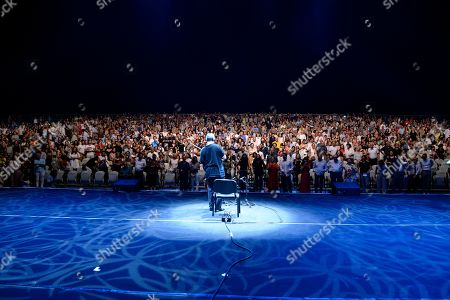Chinese-American cellist Yo-Yo Ma gestures to the attendees after performing during the last night of the annual Byblos International Festival (BIF), in the ancient city of Byblos (Jbeil), north of Beirut, Lebanon, 24 August 2019.
