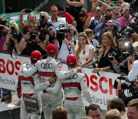 24.08.2019, Lausitzring, Klettwitz, DTM 2019, Lausitzring,23.08. - 25.08.2019 ,  winner  Nico Mueller (CHE#51), Audi Sport Team Abt Sportsline, 2.Platz fuer Robin Frijns (NL#4), Audi Sport Team Abt Sportsline, 3.Platz fuet Mike Rockenfeller (DEU#99), Audi Sport Team Phoenix