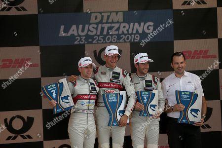 24.08.2019, Lausitzring, Klettwitz, DTM 2019, Lausitzring,23.08. - 25.08.2019 ,  Podium: winner  Nico Mueller (CHE#51), Audi Sport Team Abt Sportsline, 2.Platz fuer Robin Frijns (NL#4), Audi Sport Team Abt Sportsline, 3.Platz fuet Mike Rockenfeller (DEU#99), Audi Sport Team Phoenix