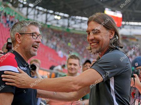 24.08.2019, Football 1. Bundesliga 2019/2020, 2. match day, FC Augsburg - 1.FC Union Berlin, in WWK-Arena Augsburg.  v.li: Trainer Urs Fischer (Union Berlin) and Trainer Martin Schmidt (FC Augsburg).