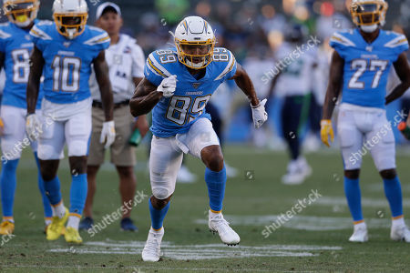 Los Angeles Chargers wide receiver Jason Moore before a preseason NFL football game against the Seattle Seahawks, in Carson, Calif