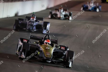 James Hinchcliffe heads into Turn 1 during the IndyCar auto race at World Wide Technology Raceway, in Madison, Ill