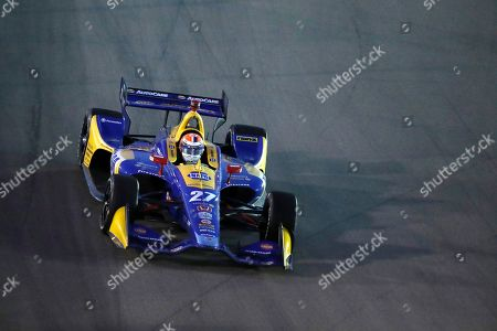 Alexander Rossi heads into Turn 1 during the IndyCar auto race at World Wide Technology Raceway, in Madison, Ill