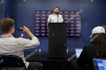 Indianapolis Colts quarterback Andrew Luck speaks during a news conference following the team's NFL preseason football game against the Chicago Bears, in Indianapolis. The oft-injured star is retiring at age 29