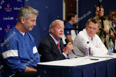 Indianapolis Colts owner Jim Irsay, middle, speaks during a news conference after the team's NFL preseason football game against the Chicago Bears, in Indianapolis. Colts quarterback Andrew Luck announced that he his retiring at age 29. Colts coach Frank Reich is at left, and general manager Chris Ballard is at right
