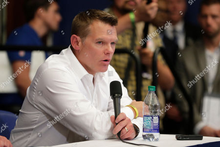 Indianapolis Colts general manager Chris Ballard speaks during a news conference after the team's NFL preseason football game against the Chicago Bears, in Indianapolis. Colts quarterback Andrew Luck announced that he his retiring at age 29