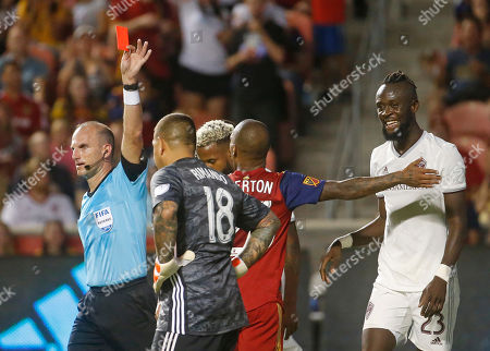 Colorado Rapids forward Kei Kamara (23) looks toward the official after receiving a red card in the second half of the team's MLS soccer match against Real Salt Lake, in Sandy, Utah