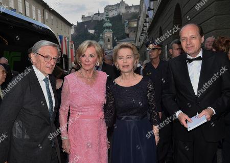 Wolfgang Schüssel, Liz Mohn, Ursula von der Leyen and Mann Heiko von der Leyen at Salzburg Festival at the Grand Festival Hall