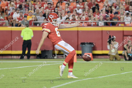 Stock Photo of Punter Jack Fox (6) of the Kansas City Chiefs punts the ball from deep in his own end during a week 3 preseason game where the San Fransisco 49ers visited the Kansas City Chiefs held at Arrowhead Stadium in Kansas City, MO Richard Ulreich/CSM