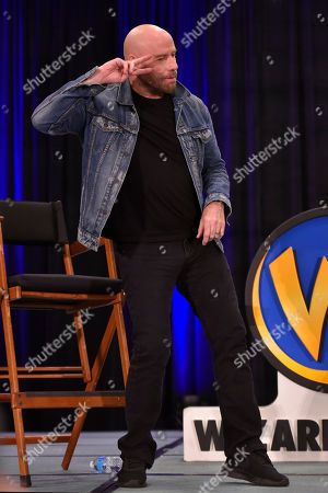 John Travolta participates during a Q&A panel on day two at Wizard World at the Donald E Stephens Convention Center, in Chicago
