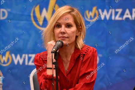 Stock Image of Emma Caulfield participates during a Q&A panel on day two at Wizard World at the Donald E Stephens Convention Center, in Chicago