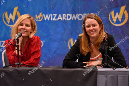 Stock Image of Emma Caulfield, Amy Acker. Emma Caulfield, left, and Amy Acker participate during a Q&A panel on day two at Wizard World at the Donald E Stephens Convention Center, in Chicago