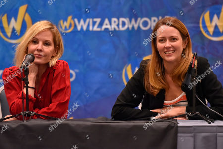 Emma Caulfield, Amy Acker. Emma Caulfield, left, and Amy Acker participate during a Q&A panel on day two at Wizard World at the Donald E Stephens Convention Center, in Chicago