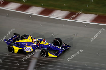 Alexander Rossi heads into turn one during the IndyCar auto race at World Wide Technology Raceway, in Madison, Ill
