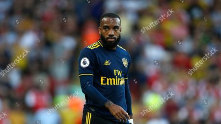 Arsenal's Alexandre Lacazette during the English Premier League soccer match between Liverpool and Arsenal at Anfield stadium in Liverpool, England