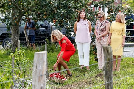 Brigitte Macron (L), wife of French President Emmanuel Macron, Chile's First Lady Cecilia Morel (2-R), Jenny Morrison (2-L), wife of Australia's Prime Minister Scott Morrison and Malgorzata Tusk (R), wife of European Council President Donald Tusk, stand in a field of Espelette pepper during a visit on traditional Basque culture as part of the G7 summit, in Espelette, near Biarritz, France, 25 August 2019. The G7 Summit runs from 24 to 26 August in Biarritz.