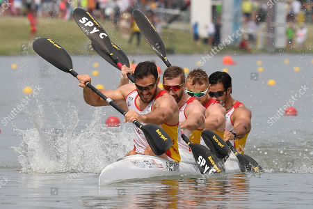 (L-R) Saul Craviotto, Carlos Arevalo, Marcus Walz and Rodrigo Germade of Spain compete to achieve second place in the final of the men's K4 500m kayak race at ICF Canoe Sprint World Championships in Szeged, Hungary, 25 August 2019.