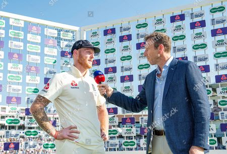 England's Ben Stokes is interviewed by Michael Atherton after his unbeaten 135 against Australia to win the match.
