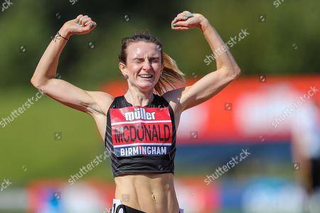 Sarah MCDONALD wins the Women's 1500m Fiinal during the Muller British Athletics Championships at Alexander Stadium, Birmingham