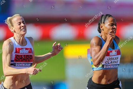 Shelayna OSKAN-CLARKE just beats Lynsey SHARP in the Women's 800m Final during the Muller British Athletics Championships at Alexander Stadium, Birmingham