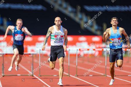Dai GREENE and Jacob PAUL in the Men's 110m Hurdles Final during the Muller British Athletics Championships at Alexander Stadium, Birmingham